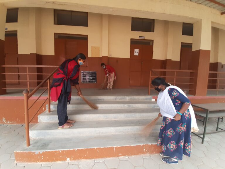 NSS Team cleaning the school premises